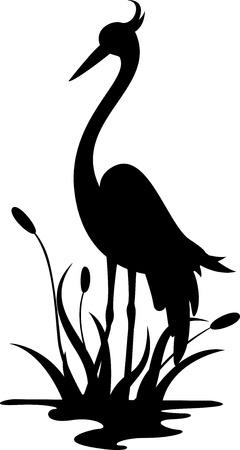 airone: bellezza airone silhouette Vettoriali