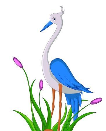 grey heron: cute little heron cartoon