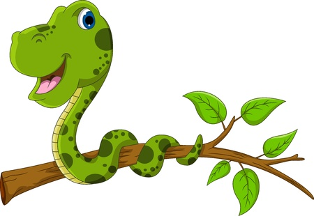 cute green snake cartoon on tree
