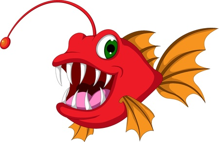 red monster fish cartoon Illustration