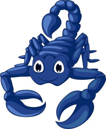 blauwe schorpioen cartoon Stock Illustratie