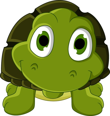 turtle isolated: cute green turtle cartoon Illustration