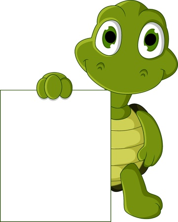 kid pointing: cute green turtle cartoon with blank sign Illustration