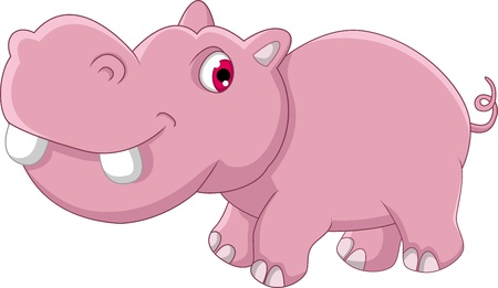 cute hippo cartoon Illustration