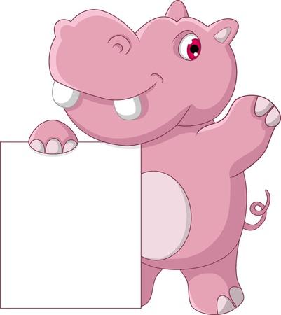 cute hippo cartoon with blank sign Illustration