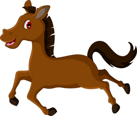 cute brown horse cartoon running Illustration
