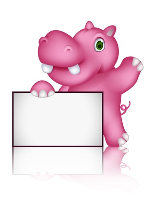 cute hippo cartoon with blank sign Illustration