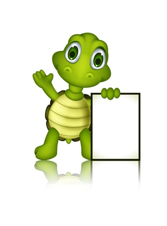 cute green turtle cartoon with blank sign Illustration