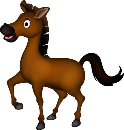 cute brown horse cartoon