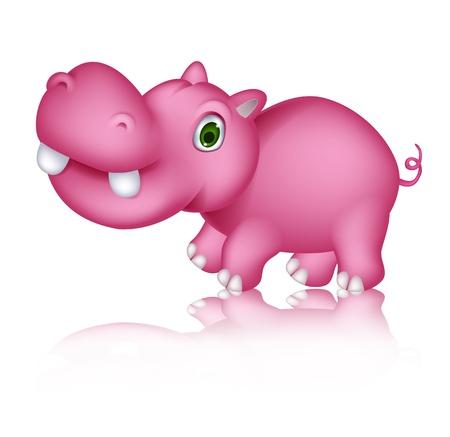 hippo cartoon: cute hippo cartoon walking Illustration