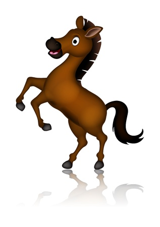 hoof: cute brown horse cartoon posing