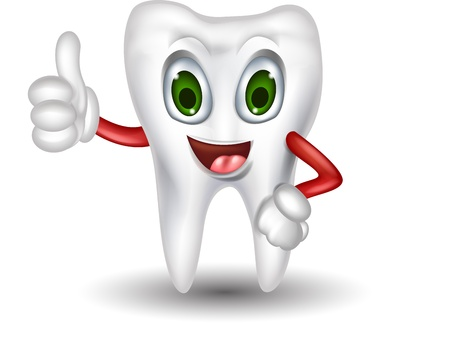 dental caries: cute tooth cartoon thumb up