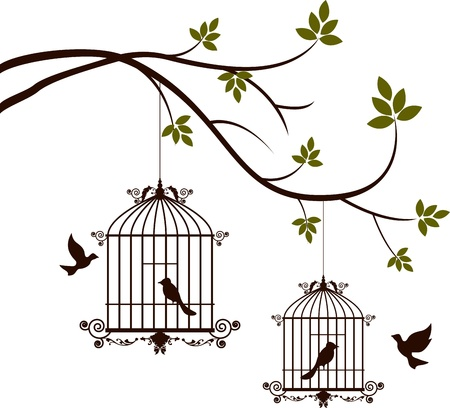 birdcage: beauty tree silhouette with birds flying and bird in a cage