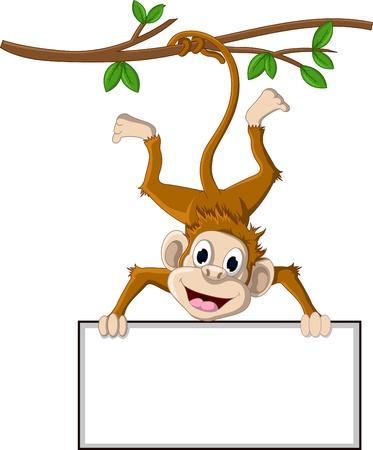 child holding sign: monkey cartoon holding blank sign