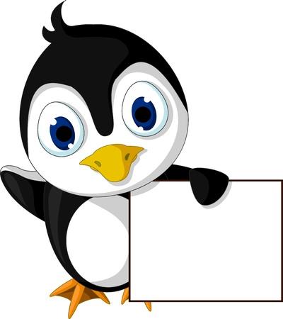 south pole: cute little penguin cartoon holding blank sign Illustration