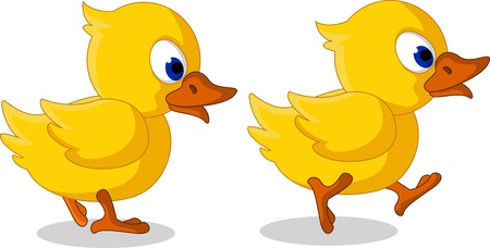 squeak: cute two baby duck cartoon walking Illustration