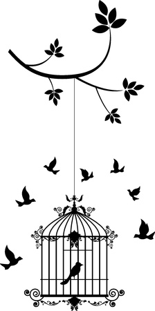 cage: beauty tree silhouette with birds flying and bird in a cage