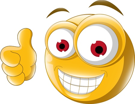 happy people faces: Thumb up emoticon for you design