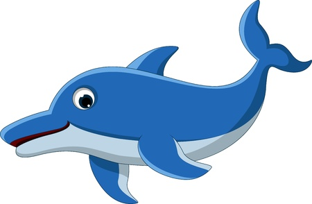 dolphin cartoon for you design Vector