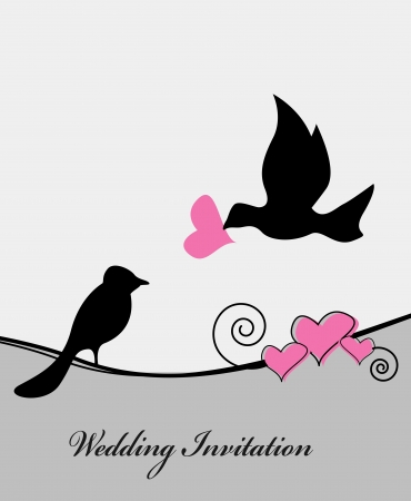 wedding card with bird illustration Vector