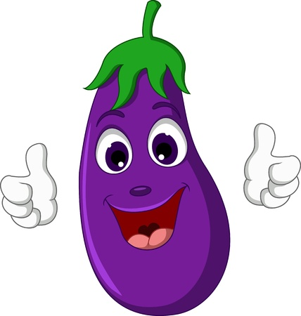 cartoon eggplant giving thumbs up Vector