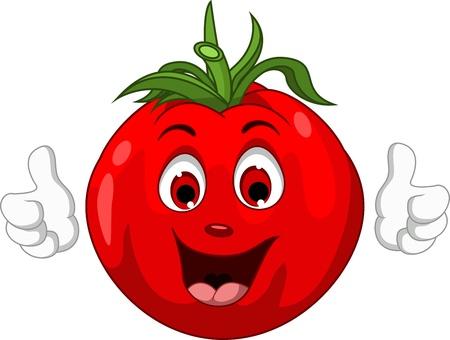 親指をあきらめて、かわいいトマトの漫画のキャラクター