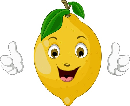limon caricatura: dibujos animados limón thumbs up Vectores