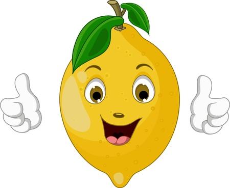 lemon cartoon thumbs up 向量圖像