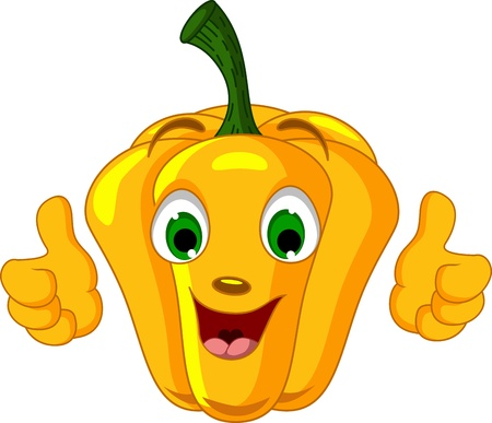 Yellow Pepper Character giving thumbs up