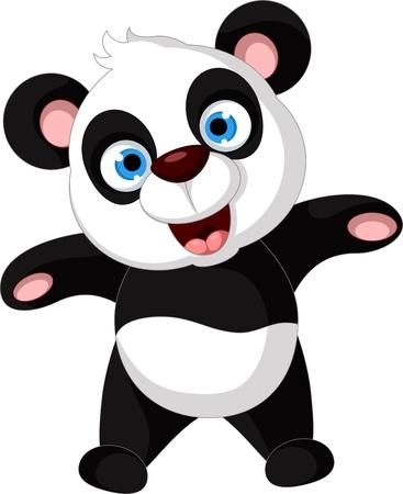 childishness: vector illustration of happy panda