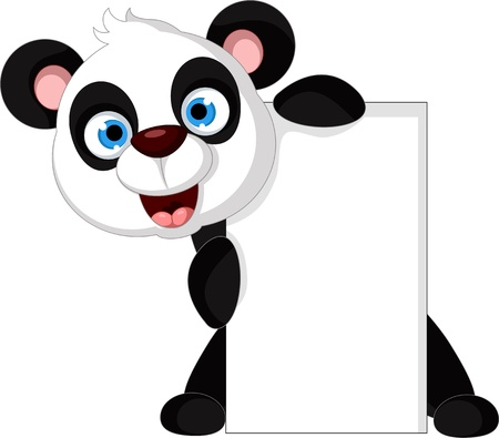 sign blank sign: vector illustration of happy panda with blank sign