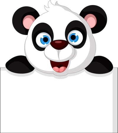 vector illustration of happy panda with blank sign Vector