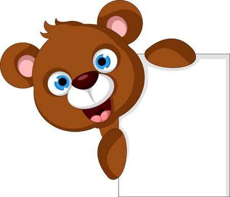 brown: baby brown bear with lank sign Illustration