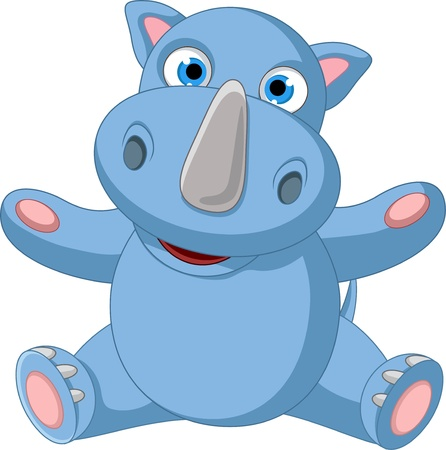 cute baby rhino cartoon sitting Vector
