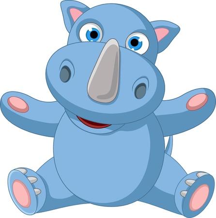 cute baby rhino cartoon sitting Stock Vector - 21470870