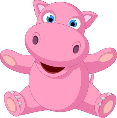 cute baby hippo cartoon sitting Illustration