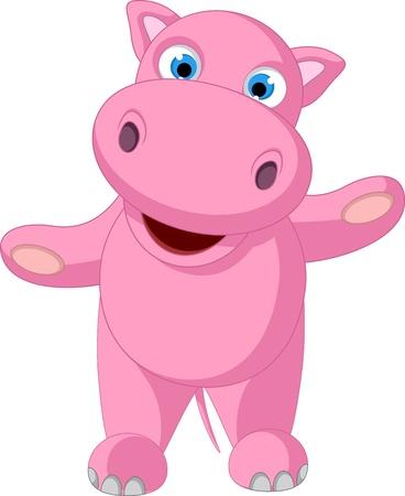 hipopotamo caricatura: lindo beb� hipop�tamo de pie