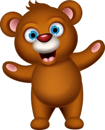 osito caricatura: marr�n lindo oso de dibujos animados que presentan Vectores