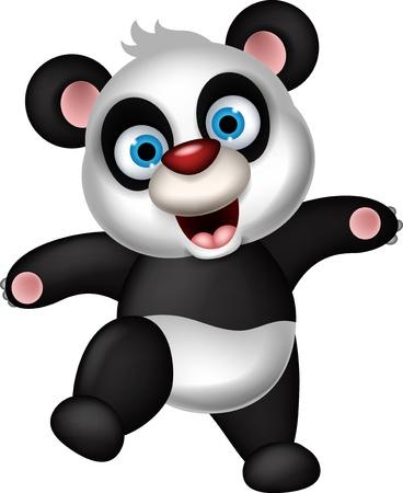 one panda: panda cartoon dancing
