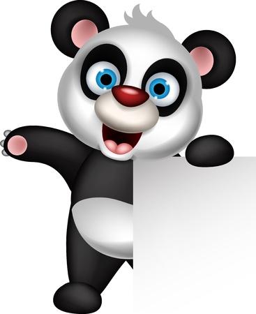 one panda: panda cartoon holding blank sign Illustration