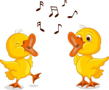 Zwei niedliche kleine Küken Cartoon-Gesang Standard-Bild - 21471740
