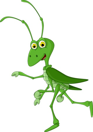 locust: cute grasshopper cartoon walking Illustration