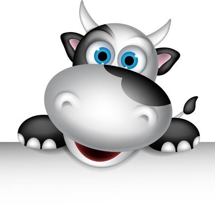 moo: Cute cow cartoon with blank sign