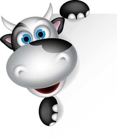 cubs: Cute cow cartoon with blank sign