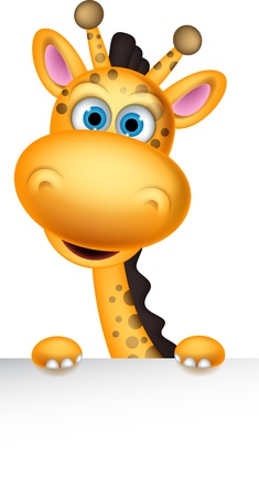 cute giraffe: cute cartoon giraffa con segno in bianco Vettoriali