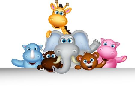 illustration zoo: simpatico cartone animato animale selvatico in posa con il segno in bianco