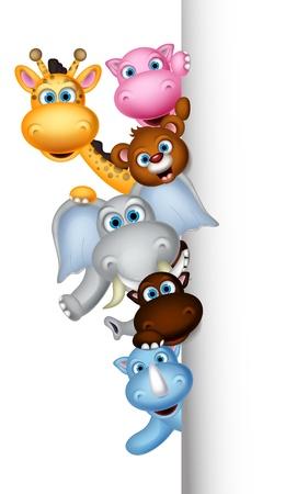 Niedlichen Cartoon des wilden Tieres posiert mit leeren Zeichen Standard-Bild - 21745641