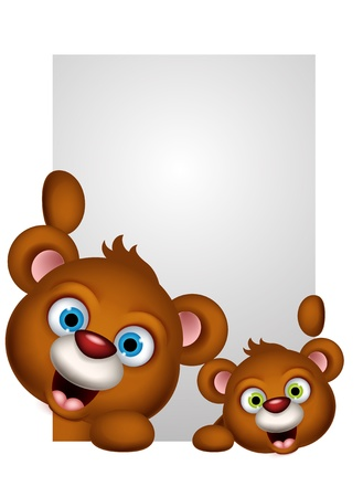 cute couple brown bear cartoon Stock Vector - 21745646