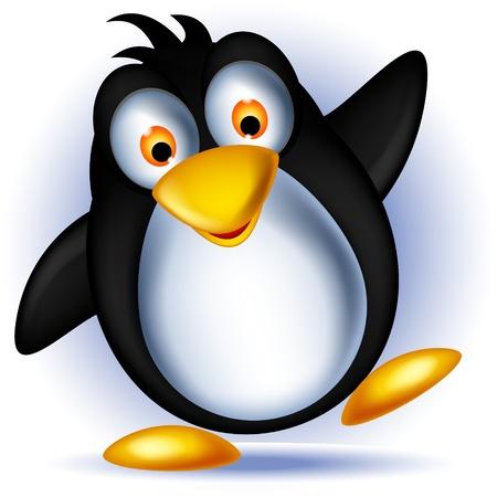 pinguino caricatura: poco feliz de dibujos animados de ping�inos
