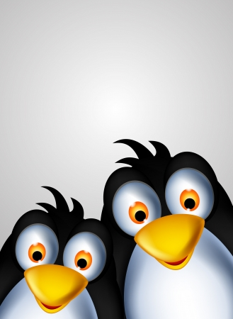 zoomed: cute couple penguin cartoon